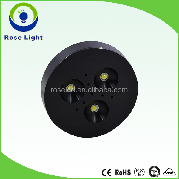 CUL UL 3W12V led under cabinet light puck lights with black housing