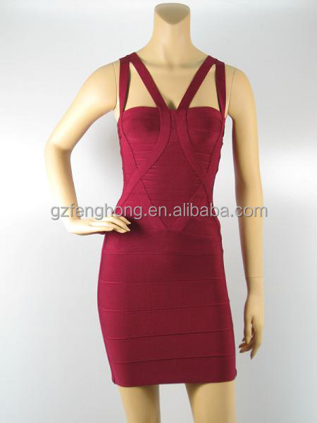 Hot sexy 2014 girls bandage party dress sleeveless red bustier prom dress