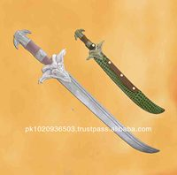 Damascus sword with leather steath
