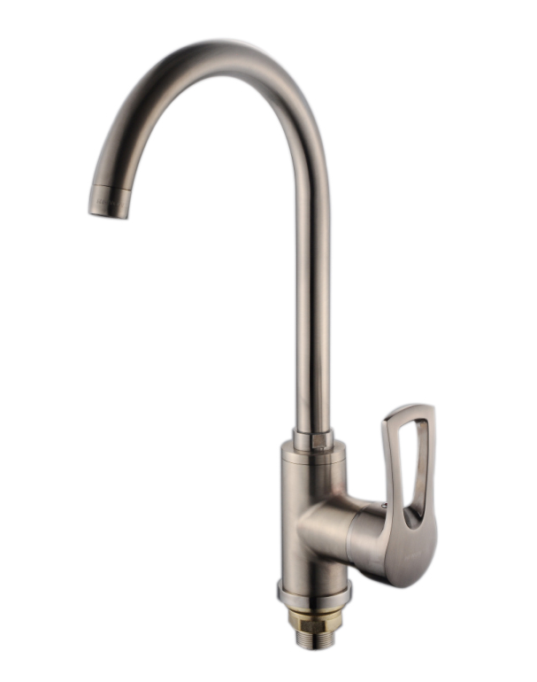 Nickel Brushed Zinc Alloy faucet tap and Single Handle at one side for kitchen Faucet With long Neck Water Mouth