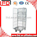 3 sides reinforced and folding wire mesh roll box pallet