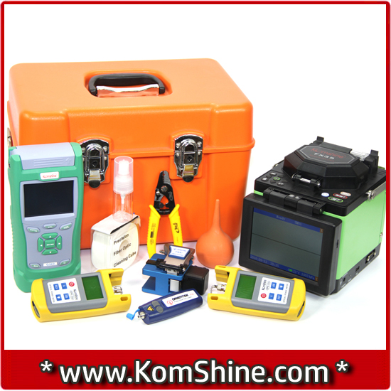 KomShine FX35 Optic Fusion Splicing Machine + QX40 1310/1550nm OTDR + KPM-25M / KLS-25M-S OPM & OLS+ Visual Fault Locator VFL