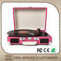 PU leather suitcase lp wood turntable player with usb recording