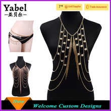 Hot Sale Gold Long Body Chain Pearl Necklace Sexy Bra Chain Body Jewelry