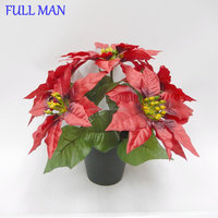 Artificial Christmas Flowers Red Poinsettia in pot