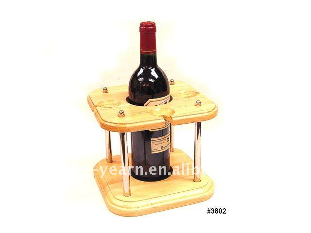 Wooden Wine Bottle Glass Display Rack with 1 Holder 4 Hanger 1 Board 1 Base 4 Metal Upright Durable Structure for Home Bar Hotel
