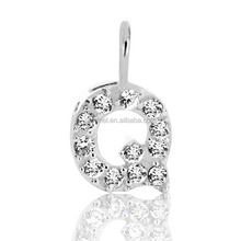 Gemnel jewelry 925 sterling silver alphabet initial Q pendant for DIY