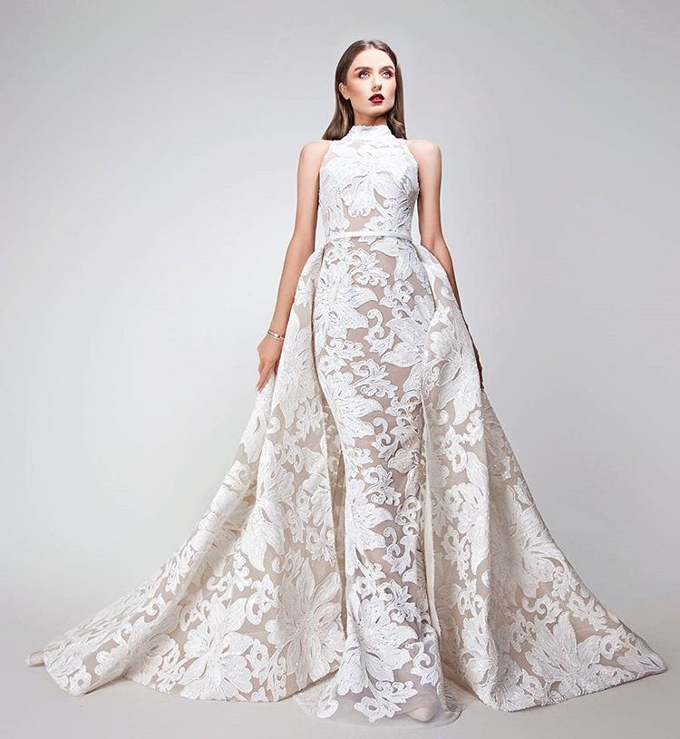 Zuhair Murad Arab Muslim A-Line White Wedding Dress Wedding Gown