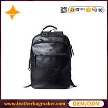 Cow leather man bag multifunction laptop bag custom backpack