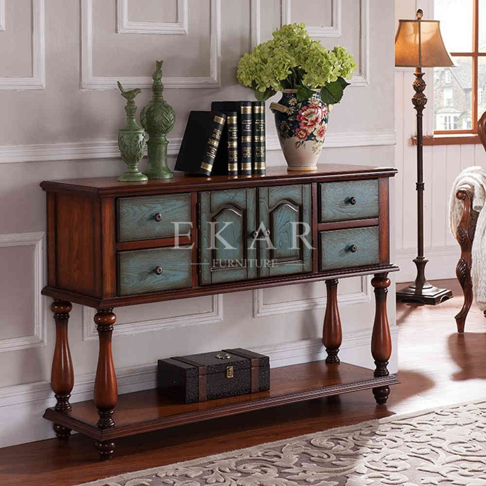 Solid Wood Drawing Furniture Antique Painted Console Cabinets Wooden Cabinet Designs For Living Room