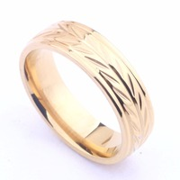 Promotion 18K gold ring Engagement Golden wedding rings for men women pattern stainless steel couple jewelry wholesale 6mm