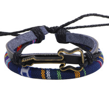 Adjustable colorful cord braided metal guitar charm leather pull string bracelet wholesale