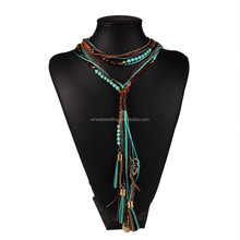 2016 New Arrival Jewelry for Women Facet Beads Multi layer Long Statement Necklace