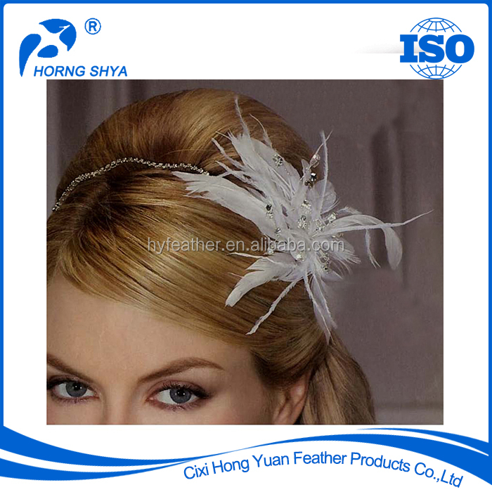 Alibaba China NO.1 Feather Product Factory Export In Stocked BF-217 White Feather Brooches Feather Pins