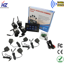 "2.4GHz wireless quad cctv camera with 7"" HD touch screen monitor receiver"