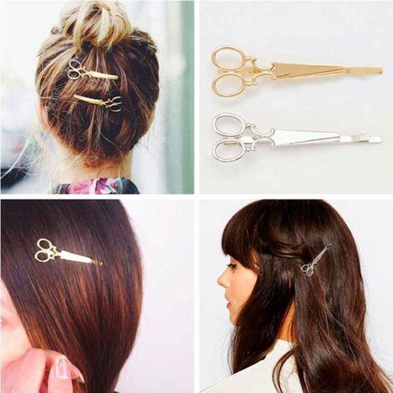 Fashion Hair Pin Gold Silver Scissors Shaped Hair Clip In Hair