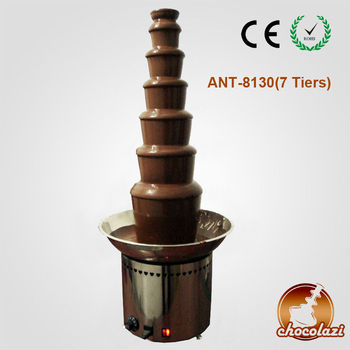 CHOCOLAZI ANT-8130 Auger 7 tiers 304 stainless steel 130cm commercial wholesale chocolate fountain