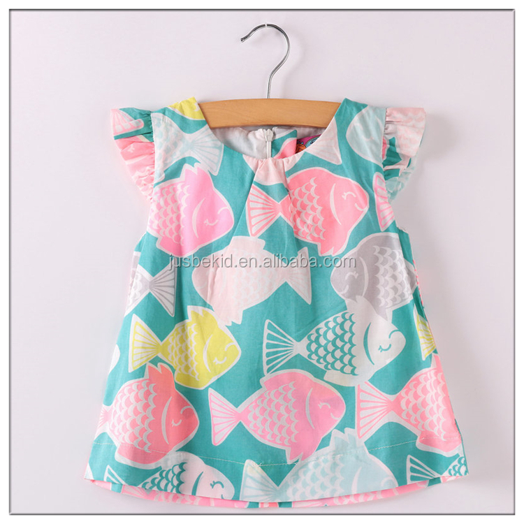 Colorful Fish Cartoon Print Baby Girl T-shirt Cotton Ruffle Short Sleeve Toddler Tops