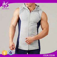 Guangzhou Shandao Most Popular Wholesale Zipper-up With Hood Sleeveless Strong Muscle Men bcg sportswear