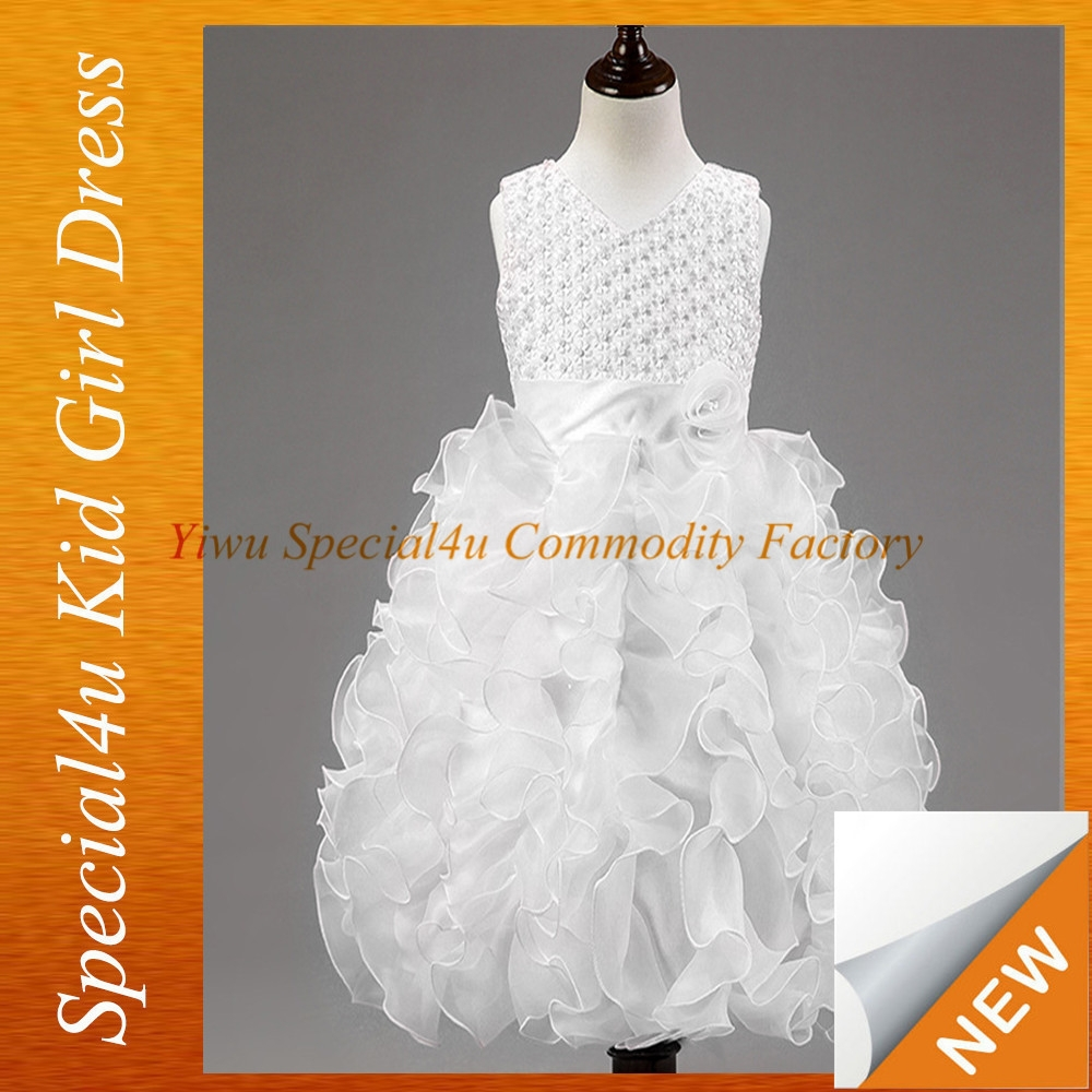 SPXC-345 Factory Wholesale White Fairy Princess Baby Girls Free Prom Party Dresses child model top 100