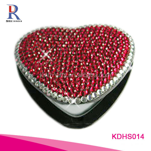 Best quality high end gift bling bling white edge red diamond heart shaped fancy makeup mirror