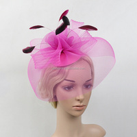 Hot Sale !!!Fashion Wedding Party Veil With Feather Fascinator hat with Hair Clip