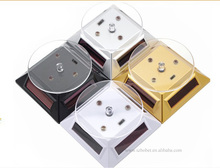 Exquisite New black Solar Powered Display Stand Rotating Turntable with LED Light + (Colored Unit Packing Box)