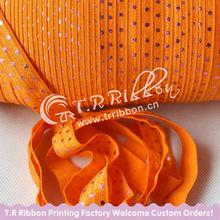 "5/8"" pink foil dots printed Fold over elastic ribbon"