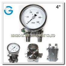 High quality 4 inch double diaphragm differential pressure manometer
