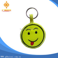 wholesale custom happy face friendship embroidery keychain