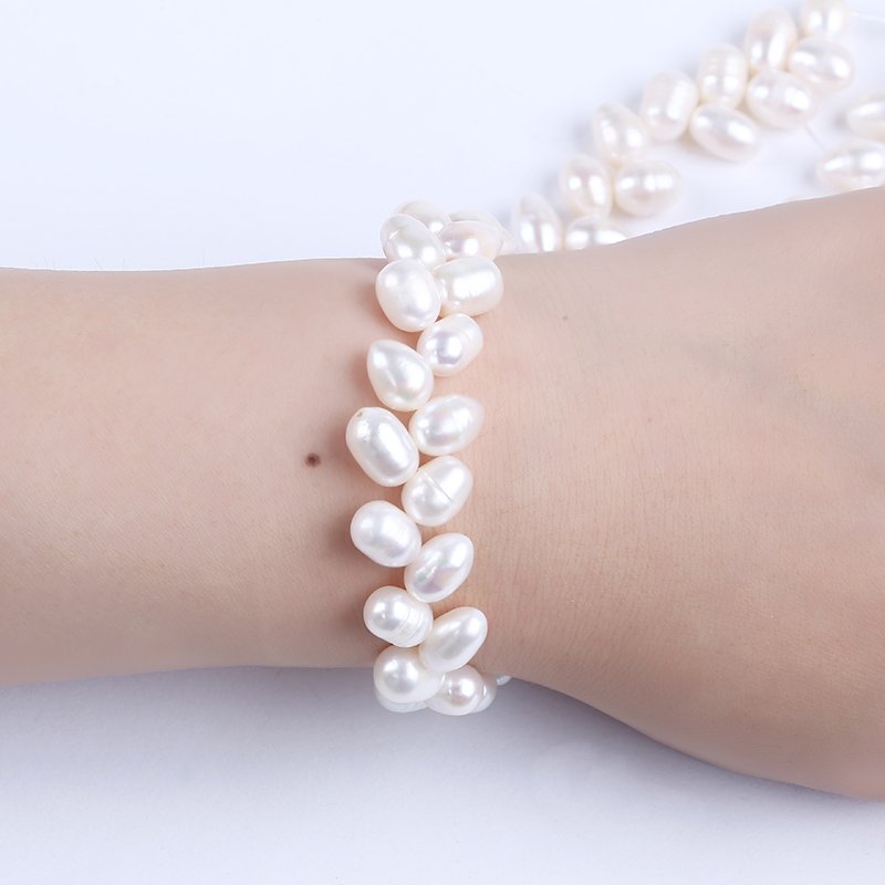 8-9mm drop shape white freshwater pearl double strand