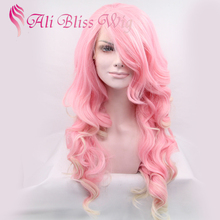 "Fashion 20"" Long Wavy Heat Resistant Fiber Two Tone Color Ombre Pink Blonde Synthetic Lace Wig with Side Bangs for White Women"