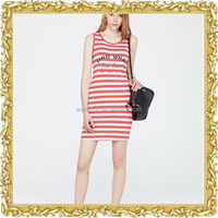 Custom sleeveless stripe long skirt tank dress red black white dresses woman casual loose fit summer dress