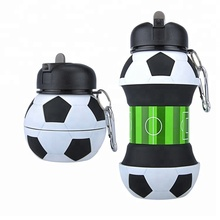 2019 Wholesale Novelty Football <strong>Sports</strong> Foldable Collapsible Travel Silicone Water Bottle