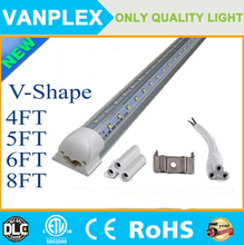 V-Shaped 4ft 5ft 6ft 8ft Cooler Door Led Tubes T8 Integrated Led Tubes Double Sides SMD2835 Led Lights