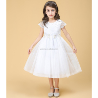 Fashion White One Piece Flower Girls Party Princess Dresses of 5 Years