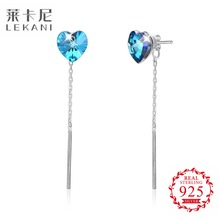 No Minimum Order Lekani Jewelry 001BB Crystal from Swarovski Heart Design Silver Earring