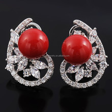 New Model Fashion Flower Jewelry Platinum Plated Noble Freshwater Pearl Stud Earring