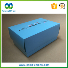 Flat pack paper box full color printing warm design baby shoes packaging lingerie boxes