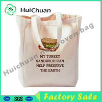 OEM cotton canvas tote bag with printed logo for shopping wholesale