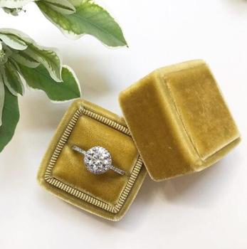 2019 new design square velvet jewelry ring packaging box wholesale