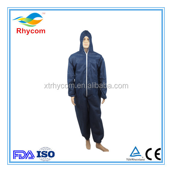 Disposable Coveralls with Attached Hood, Boots and Elastic Wrists