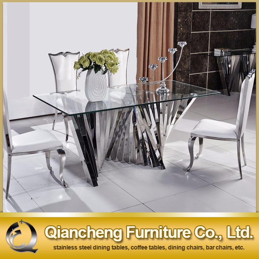 fancy stainless steel dining table for hotel furniture