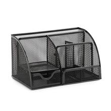 7 Compartment Wire Mesh Desk Organizer,  Compact Caddy for Desk Accessories, Office Stationery Mesh Collection,Black