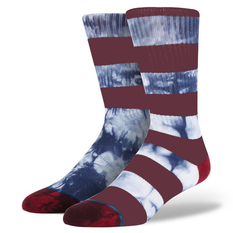 Brand Sock Supplier White and Red Stripes Young Boys Riding Wear Tie Dye Socks