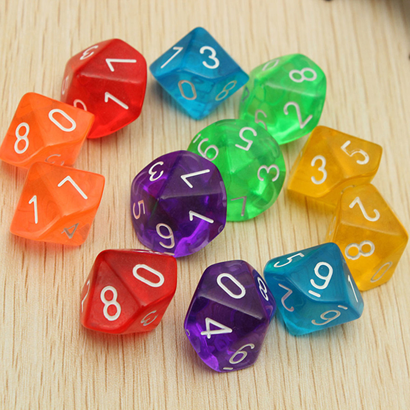 10pcs Transparent 10 Dice Die 10 Sided Gem Dice Set Multicolor <strong>D10</strong>