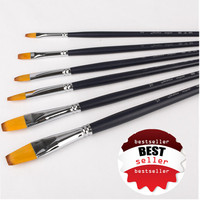 New Products for 2016 Golden Synthetic Nylon Hair acrylic artist paint brush 6 pcs set
