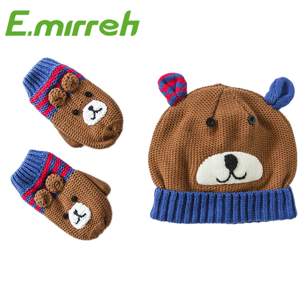 2016 new style 0-7 years embroidered toddler animal hat gloves sets child mitten set