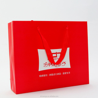 High quality red art paper shopping tote bag