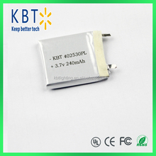 402530PL 240mAh Rechargeable 3.7V Lithium Polymer Battery For Bluetooth Headset